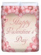 Happy Valentine Pink Heart Duvet Cover