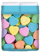 Happy Valentines Day With Colorful Heart Shaped Candies Duvet Cover