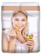 Happy Woman Eat Fruit Salad Duvet Cover