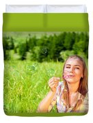 Happy Woman Outdoors Duvet Cover