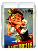 Happy Woman With Flowers, Festival In Ventimiglia, Italy Duvet Cover