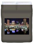 Harbor Nights In Baltimore Duvet Cover