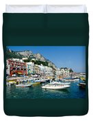 Harbor Of Isle Of Capri Duvet Cover by Jon Berghoff