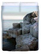 Harbor Rocks In Ice Duvet Cover by Kathy DesJardins