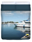 Harbor With Yacht And Boats Duvet Cover
