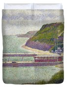 Harbour At Port En Bessin At High Tide Duvet Cover by Georges Pierre Seurat