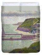 Harbour At Port En Bessin At High Tide Duvet Cover by Georges Pierre Seurat