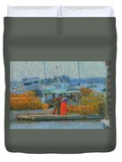 Hard Work At Lobster Dock Boothbay Harbor Maine Duvet Cover