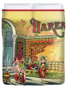 Harem Vintage Fruit Packing Crate Label C. 1920 Duvet Cover