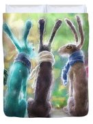 Hares With Scarves Duvet Cover