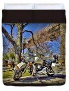 Harley Davidson And Brooklyn Bridge Duvet Cover