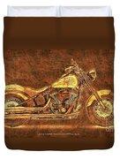 Harley Davidson Classic Bike, Original Golden Art Print For Man Cave Duvet Cover