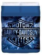 Harley Davidson Logo Blue Duvet Cover