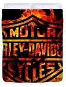 Harley Davidson Logo Flames Duvet Cover
