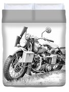 Harley Davidson Military Motorcycle Bw Duvet Cover