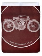 Harley Davidson Model 10b 1914 For Some There's Therapy, For The Rest Of Us There's Motorcycles, Red Duvet Cover