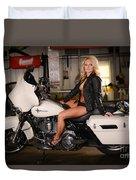 Harley Davidson Motorcycle Babe Duvet Cover