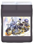 Motorcycle In Watercolor Duvet Cover