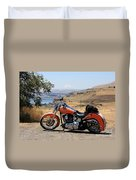 Harley With Columbia River And Mt Hood Duvet Cover