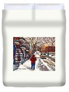 Winter Walk After The Snowfall Best Montreal Street Scenes Paintings Canadian Artist Paysage Quebec Duvet Cover
