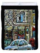 Achetez Les Meilleurs Scenes De Rue Montreal St Henri Cafe Original Montreal Street Scene Paintings Duvet Cover