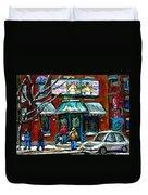Achetez Les Meilleurs Scenes De Rue Montreal Boulangerie St Viateur Original Montreal Street Scenes  Duvet Cover