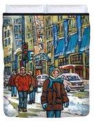 Achetez Les Meilleurs Scenes De Rue Montreal Best Original Art For Sale Montreal Streets Paintings Duvet Cover