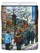 Buy Best Original Canadian Winter Scene Art Downtown Montreal Paintings Achetez Scene De Rue Quebec  Duvet Cover