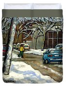 Canadian Artist Winter Scenes Original Paintings Quebec Streets Achetez  Montreal Art Online Duvet Cover
