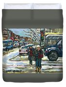 Best Canadian Winter Scene Paintings Original Montreal Art Achetez Scenes De Quebec Cspandau Duvet Cover