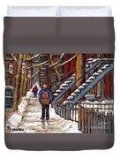 Canadian Art Winter Streets Original Paintings Verdun Montreal Quebec Scenes Achetez Les Meilleurs Duvet Cover