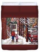 Canadian Winter Scene Paintings Original Art Verdun Montreal Achetez Scenes De Rue Quebec C Spandau  Duvet Cover