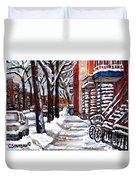 Canadian Winter Scene Paintings Original Art Verdun Montreal Achetez  Paysages De Quebec C Spandau Duvet Cover