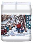 Paysages De Verdun Quebec A Vendre Original Verdun Montreal Winter Staircase Street Scene Paintings  Duvet Cover