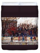 Paysages De Quebec Petits Formats A Vendre Hockey Rink Paintings Psc Original Montreal Street Scenes Duvet Cover