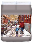 Original Montreal Street Scene Paintings For Sale Winter Walk After The Snowfall Best Canadian Art Duvet Cover