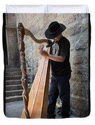 Harpist Street Musician, Barcelona, Spain Duvet Cover