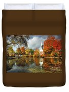 Harrisville New Hampshire - New England Fall Landscape White Steeple Duvet Cover