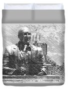 Harry Caray Statue With Historic Wrigley Scoreboard Bw Duvet Cover