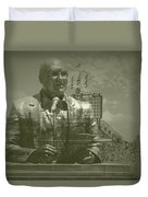 Harry Caray Statue With Historic Wrigley Scoreboard Duvet Cover