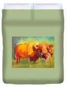 Hartsel Bison Family In Springtime Duvet Cover