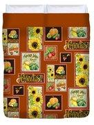 Harvest Market Pumpkins Sunflowers N Red Wagon Duvet Cover