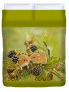 Harvest Mice On Blackberry Duvet Cover