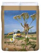 Harvest Mouse And Backhoe Duvet Cover