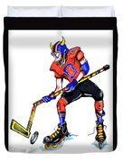 Hat Trick Hockey Player Duvet Cover