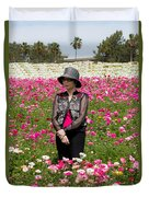 Hatted Lady In A Field Duvet Cover