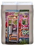 Haunted Graffiti Art Bus Duvet Cover