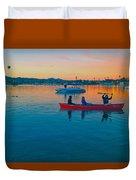 Havasu Canoe Ride At Sunrise Duvet Cover