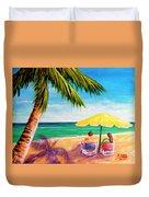 Hawaii Beach Yellow Umbrella #470 Duvet Cover