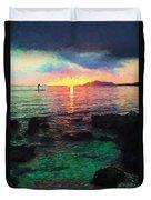 Hawaii Paddler Duvet Cover